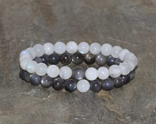 Set de 2 Pulseras de Piedra de Luna y Piedra Sol Negra de Grado AAA de 7 mm, Pulsera de Piedras Preciosas Naturales, Regal...
