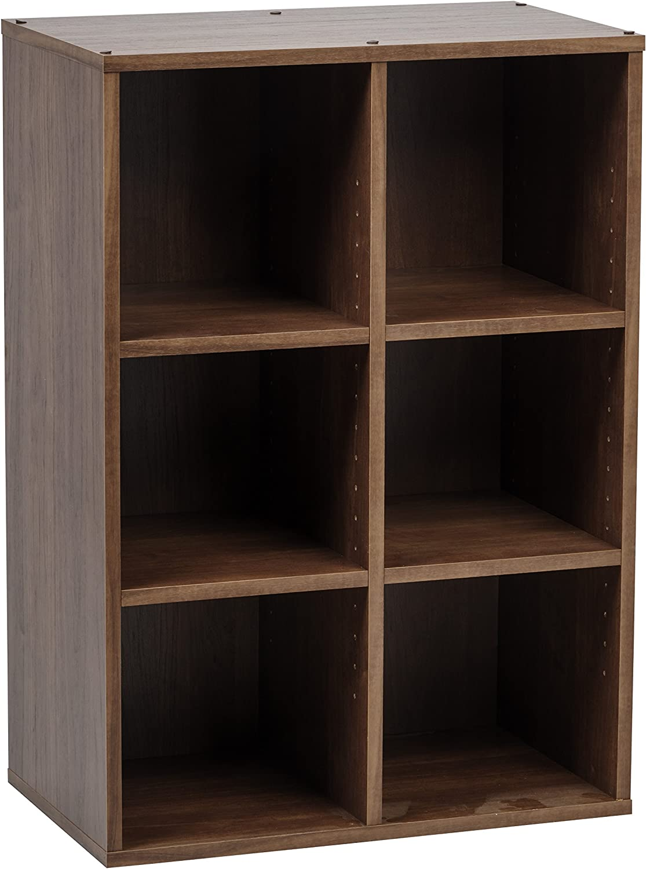 IRIS 6 Cube Wood Shelf, Brown, Collan Series