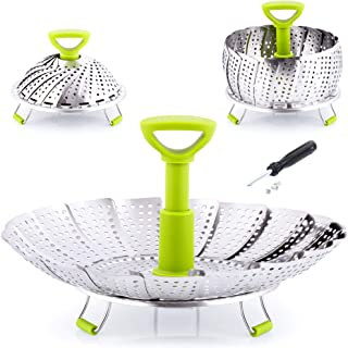 "Zulay Adjustable Vegetable Steamer Baskets For Cooking - Foldable Steamer Basket (5.1"" to 9"") - Expandable Vegetable Steamer Basket Stainless Steel Fits Various Size Pots, Pans, Pressure Cookers"