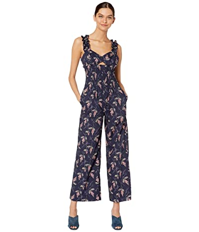 Rebecca Taylor Sleeveless Ivie Floral Jumpsuit (Navy Combo) Women