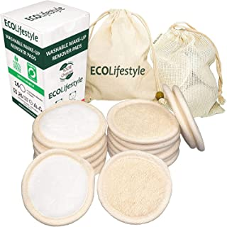 Reusable Makeup Remover Pads - 16 PREMIUM Bamboo Reusable Cotton Rounds for Face for Toner - Eco Friendly Products Zero Waste Sustainable Cloths Organic Pad - Eye Cleaner Removal for all Skin Types