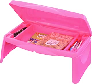 "Lap Desk for Kids - Folding Lap Desk with Storage 17x11"" - Pink - Durable Lightweight Portable Laptop Computer Children's Drawing Desks for Homework or Reading. No Assembly Required."