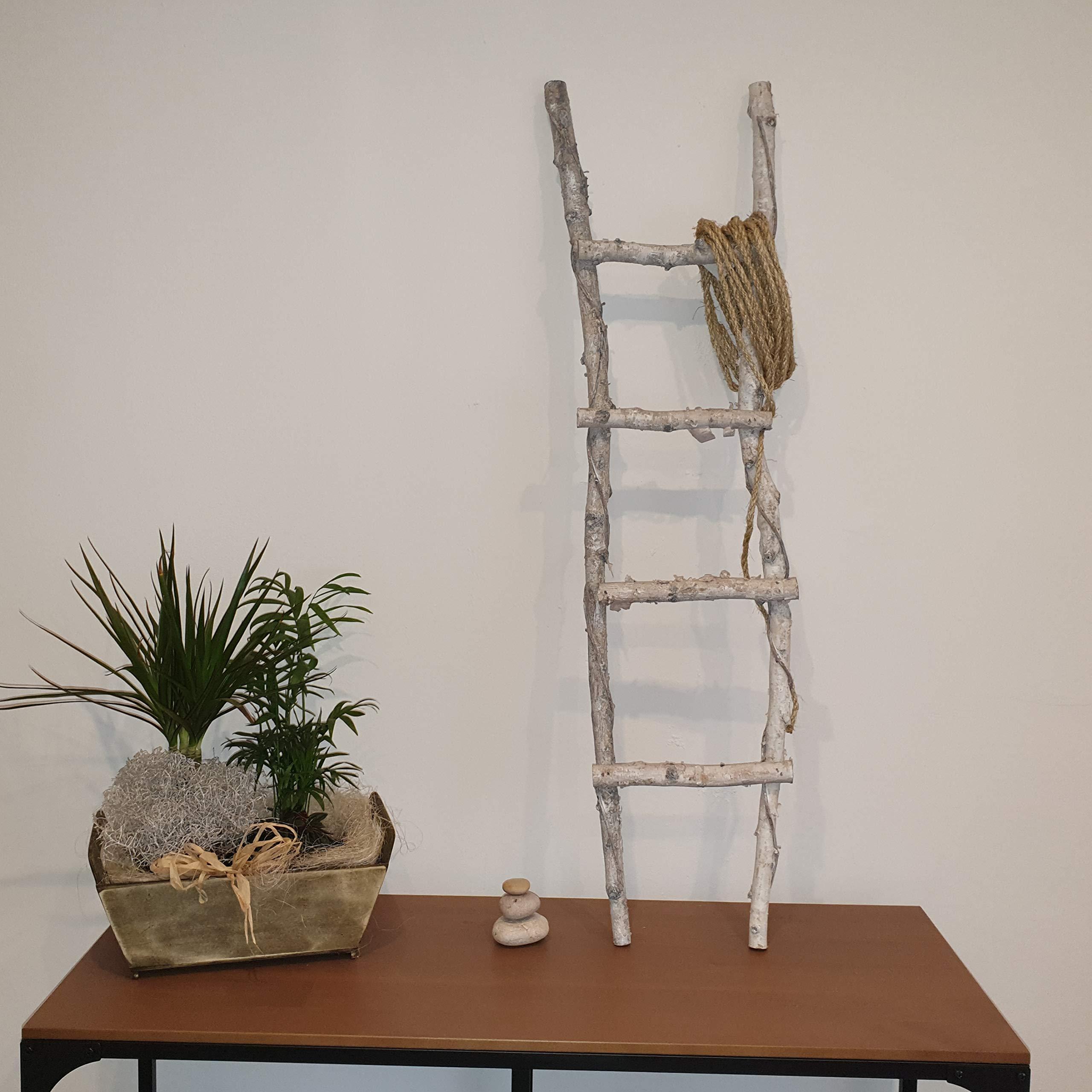 Zenhica Escalera Decorativa Blanco decapado, 4 peldaños. Efecto Vintage Rústico: Amazon.es: Hogar