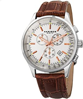 Akribos Multifunction Subdials Casual Watch - 3 Sub-Dial with Leather Strap - Glossy Dial with Engraved Concentric Circles - AK863
