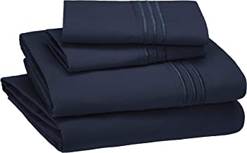 AmazonBasics Premium, Easy-Wash Embroidered Hotel Stitch 120 GSM Sheet Set - King, Navy Blue