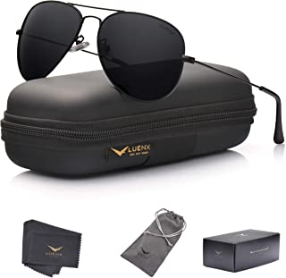 LUENX Men Aviator Sunglasses Polarized - UV 400...