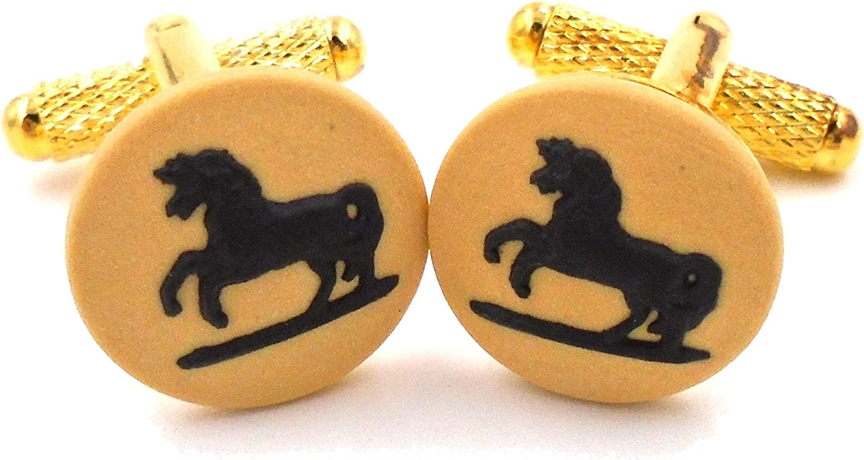 Wedgwood Authentic Gold Toned Yellow & Black Jasperware Cufflinks Horse Bucking