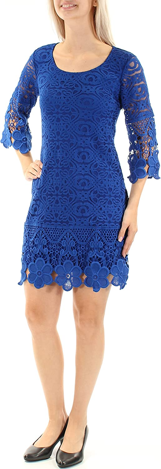 Alfani Womens bluee Lace 3 4 Sleeve Scoop Neck Above The Knee Sheath Cocktail Dress US Size  XS