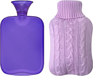 Attmu Classic Rubber Transparent Hot Water Bottle 2 Liter with Knit Cover - Purple