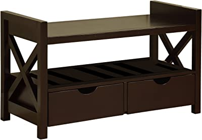 King's Brand Wood Shoe Storage Bench with Drawers, Cherry Finish
