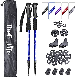 TheFitLife Nordic Walking Trekking Poles - 2 Pack with Antishock and Quick Lock System, Telescopic, Collapsible, Ultraligh...