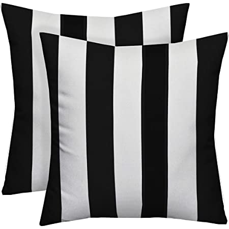 Amazon Com Set Of 2 20 Black And White Stripe Decorative Square Throw Toss Pillows Indoor Outdoor Fabric Home Kitchen