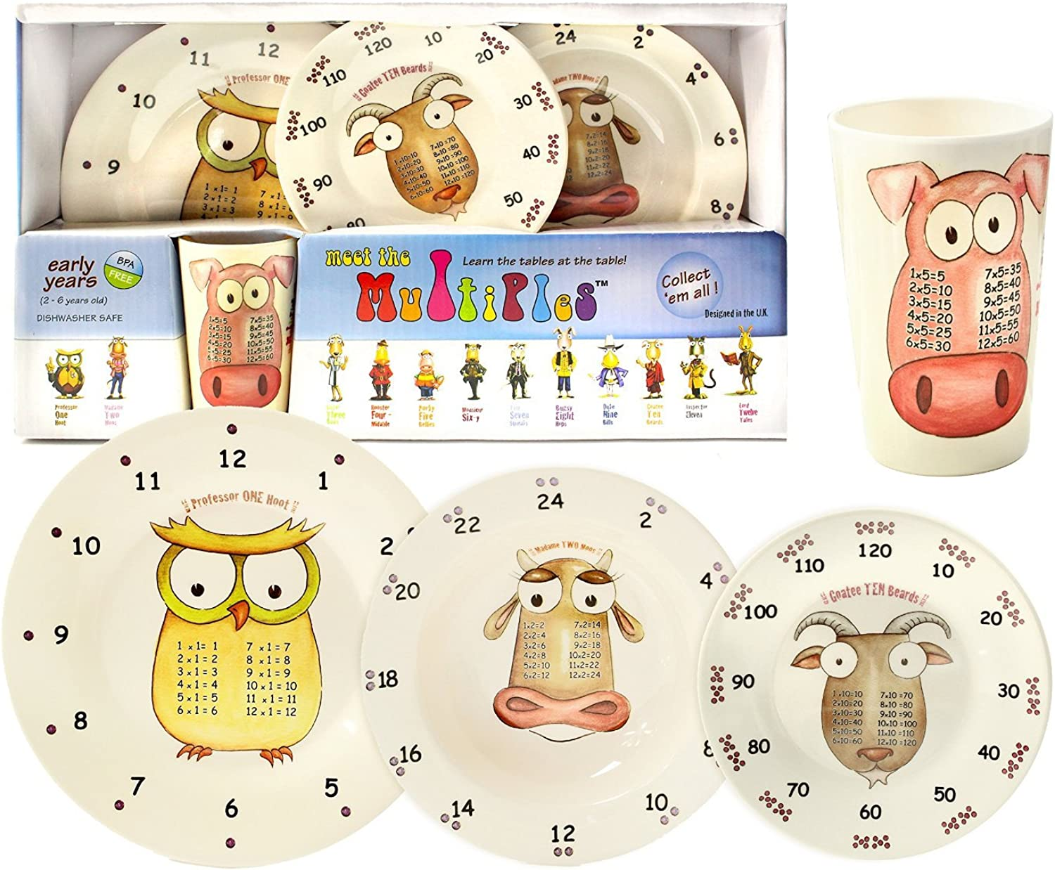 The Multiples Times Table Dinnerware AwardWinning 4piece Early Years Gift Boxed Set