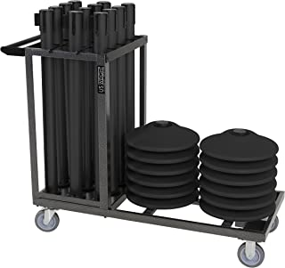 US Weight Statesman Stanchion Cart Kit – 12 Premium Black Steel Stanchions with Cart