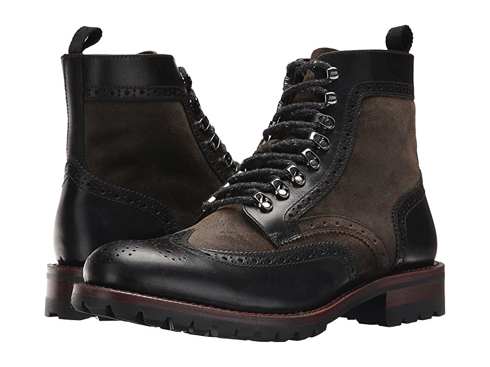 Frye George Adirondack (Black Multi Waterproof Smooth Pull Up/Waxed Suede) Men