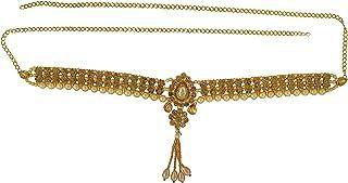 Memoir Brass Gold Plated, Golden CZ, with Golden Faux Pearls, Broad, Waist Belt, Belly Chain, Kamar patta, Traditional Kam...