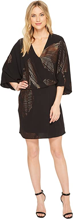 Halston Heritage - Kimono Sleeve Faux Wrap Printed Dress