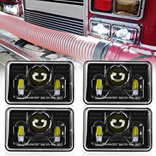 Dot approved 4x6 Inch LED Headlights Rectangular Replacement H4651 H4652 H4656 H4666 H6545 for Peterbil Kenworth Freightinger Ford Probe Chevrolet Oldsmobile Cutlass (2PCS High Beam/2PCS Low Beam)