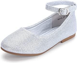Girl's Toddler/Little Kid Ava Mary Jane Ballet Flats Rhinestone Strap Dress Wedding Ballerina Flat Shoes