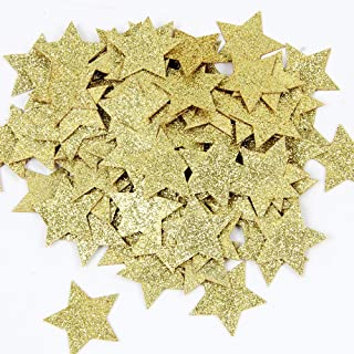 Gold Glitter Double Sided Star Paper Confetti for Table Wedding Birthday Party Decoration,1.2 inch in Diameter(100pcs)