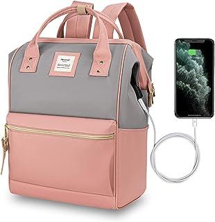 Hethrone Sac à Dos Femme 15.6 Sac à Dos Pc Antivol Imperméable Backpack pour Scolaire Voyage Travail Décontracté Rose Gris...