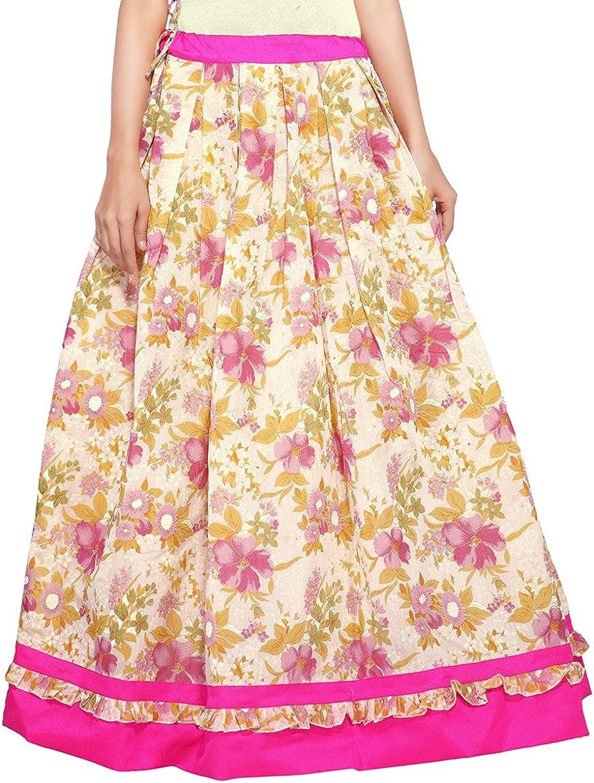 Indian Handicrfats Export Admyrin Women Beige and Pink Cotton Chanderi Skirt