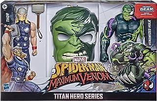 Spider-Man Maximum Venom Titan Hero Spider-Man Vs. Venomized Hulk Action Figure 2-Pack And Mask, With Blast Gear-Compatibl...