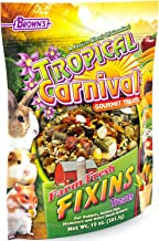 F.M. Brown's Tropical Carnival Farm Fresh Fixins Treats for Rabbits, Guinea Pigs, Hamsters, Rats, Mice, and Other Small Animals, 10-oz Bag - Healthy Mix of Fruits, Veggies, Seeds, and Hay