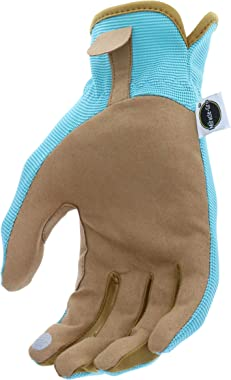 Miracle-Gro MG86202/WSM Synthetic Palm Leather Gloves, Small/Medium , Blue