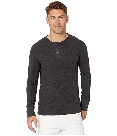G-Star Korpaz Granddad Kylio Waffle Long Sleeve T-Shirt (Dark Black Heather) Men