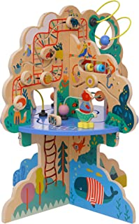 Manhattan Toy Playground Adventure Wooden Toddler Activity Center with Gliders, Abacus Track, Spinners, Spring Toys and Be...