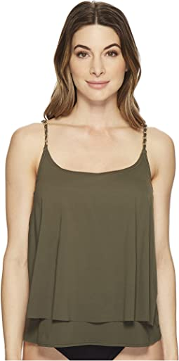MICHAEL Michael Kors Safari Solids Layed Tankini Top w/ Chain Detail & Removable Soft Cups