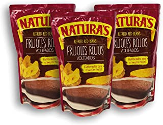 Naturas Refried Red Kidney Beans: Frijoles Rojos Volteados | 100% Plant Based | Ready To Serve| Made With Ground Beans of Beans|No Preservative,No Artificial Colors| 100% Natural (227g,3 Pack)