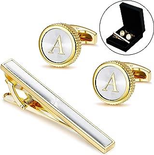 Mens Cufflinks Tie Bar Clip Set Alphabet Letter Cufflinks Formal Business Wedding Shirts A-Z Gift Box