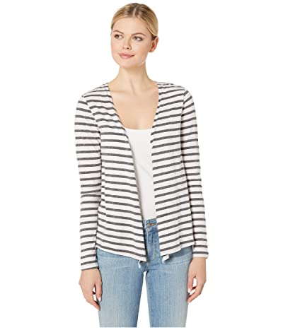 Mod-o-doc Long Sleeve Cardigan with Twist Back in Two-Color Stripe (White) Women