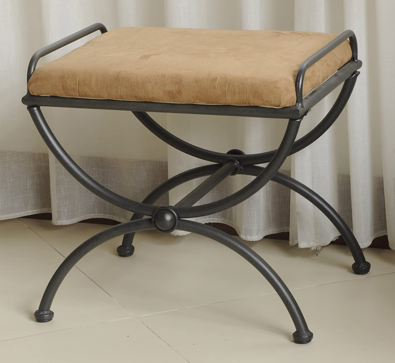 Iron Vanity Stool with Upholstered Seat