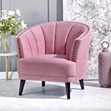 SOPHIE Club Chair [Pink] Upholstered Chair for Living Room - Studded Detailing, Solid Wood Legs | Accent Chairs