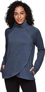 RBX Activewear Women's Fleece Pullover Sweatshirt With Zip Mock Neck, Pockets and Thumb Holes