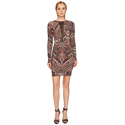 Just Cavalli Jersey Geo Animal Long Sleeve Dress (Malva) Women