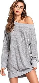 Women's Long Sleeve Oversized Off Shoulder Knit Mini Sweater Dress