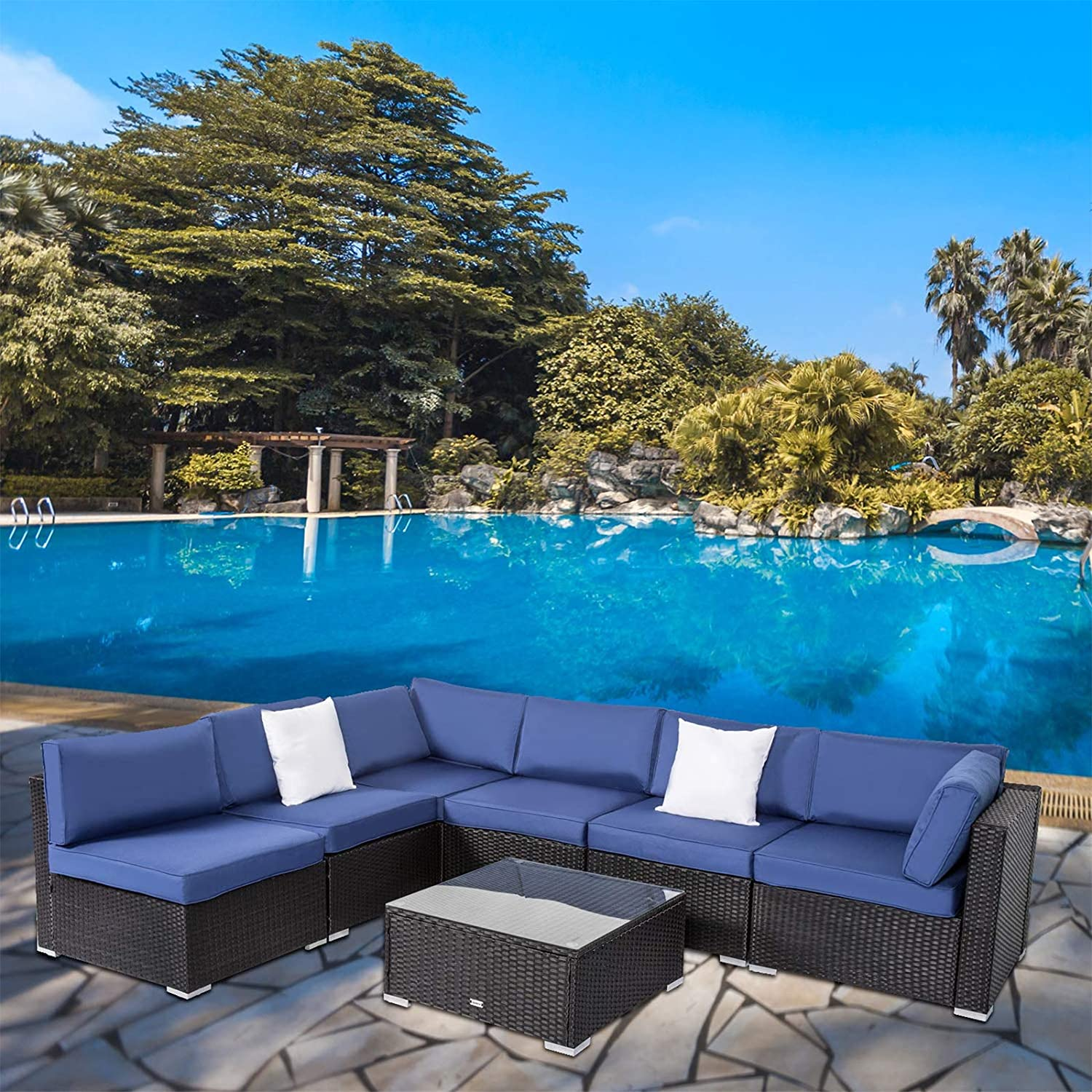 Kinsunny Outdoor Furniture Sectional Wicker Sofa Set 20 PCs Patio Rattan  Clearance with Washable Cushions and Coffee Table, Backyard, Pool