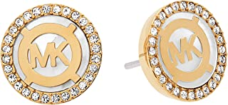 Goldtone White Mother Of Pearl & Clear Pave Stud Earrings