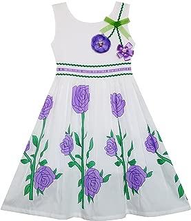 Sunny Fashion Girls Dress Sunflower Bubble Lily Flower Garden Print