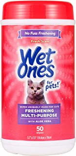 Wet Ones for Pets Freshening Multipurpose Wipes for Cats with Aloe Vera | Easy to Use Cat Cleaning Wipes, Freshening Cat Grooming Wipes for Pet Grooming in Fresh Scent | 50 ct Cannister Cat Wipes