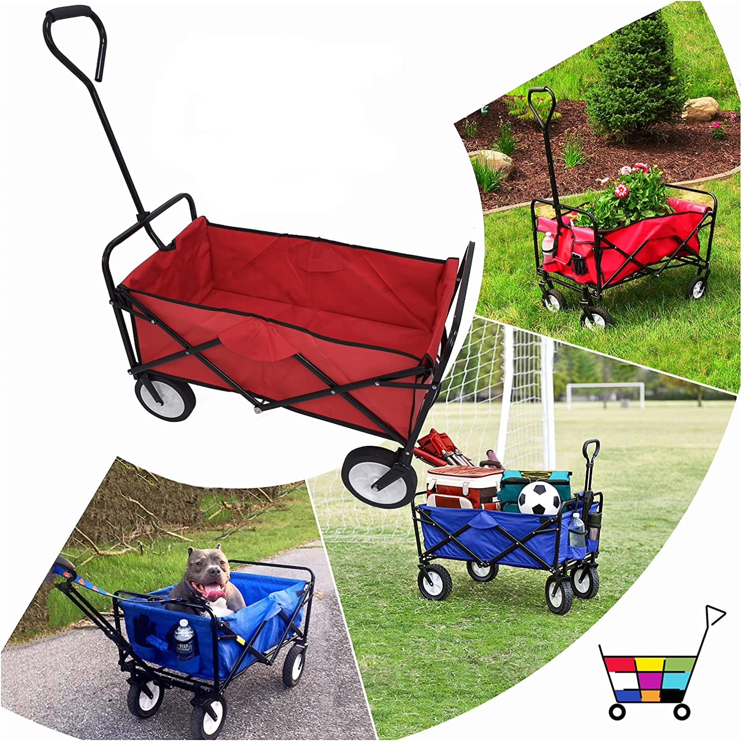 HTTMT- Red Multifunction Folding Wagon Cart Import Outdoor Portable Whe Ranking TOP16