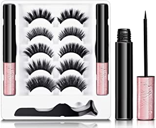 Magnetic Eyelashes with Eyeliner Kit, JOMARTO 5 Pairs Different Reusable Magnetic Lashes with 2 Tubes Magnetic Eyeliner an...