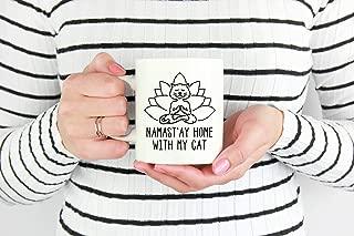 Namaste Home With My Cat, Yoga Gift, Cat Yoga Mug, Cat Mug, Cat Lover Mugs, Yoga Gifts, Spiritual Practice Mug, Gift For Yogi, Yoga Lovers