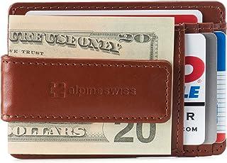 Alpine Swiss Men's RFID Harper Money Clip Front Pocket Wallet Leather York Collection