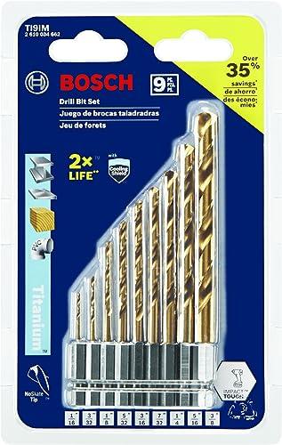 Bosch TI9IM 9 Pc. Impact Tough Titanium Drill Bit Set,