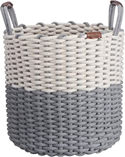 Northern Rey Cotton Rope Basket - Large, Handmade with Handles – Circular Basket for Kids Toys, Blanket, Pillows, Throws, Laundry Organizer, Hamper, Storage Bin Basket, Chic Grey - 17 x 14.7 Inches